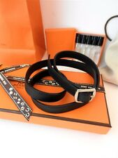 Auth Brand New in Box HERMES Paris Black Leather Belt Bracelet + Bag Gift FRANCE