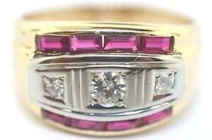 14k Two Tone Man's Diamond, And Ruby Ring