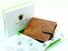 Topsum London Men's Luxury Coin Pocket Premium Genuine Leather Wallet #4019 TAN
