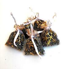 5 Fresh High Quality Kent Lavender Hand Made Gold Snow Flake Xmas Organza Bags