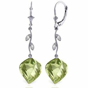 Natural Green Amethysts & Diamonds Chandelier Leverback Earrings 14K. Solid Gold