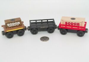 Thomas Friends Wooden Railway Train Tank - Flatbed Car &Red Cargo Car Lot x3