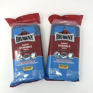 2x Brawny Heavy Duty Giant Durable Wipes 30 Towels Citrus Scent Discontinued