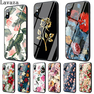 For 7 Plus 6 8 X XS Max iPhone 5S Cover TPU Patterned Rose N4982 Tempered Glass