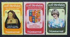 MONTSERRAT 1982 Princess of Wales 21st Birthday. Set of 3. MNH. SG543/544.