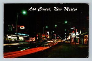 Las Cruces NM, Night Advertising, Vintage Chrome New Mexico c1970 Postcard