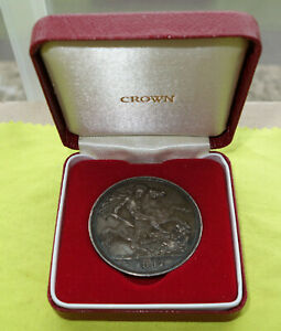 1887 Crown VICTORIA (1837-1901) Silver 28.39 grams Coin + Case