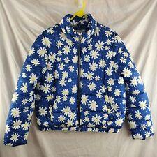 Women's Blue White Daisies M&S Puffer Coat Jacket Size Medium (Kids XL)