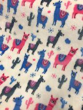 Cuddle Fleece Fabric Funky Llama Bright Print Blankets Cushions