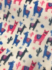Cuddle Fleece Fabric Funky Llama Bright Print Blankets Cushions Throws