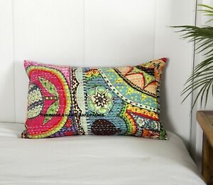 30.5X50.8cm Indien Oreiller Coton Abstrait Kantha Coussin Housse Handmade Taie