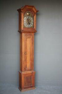 Genuine antique Georgian longcase clock oak case silver dial signed Thomsen 1780