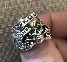 Vintage Ed Hardy Silver Skull Ring, rare, 925 Silver. ring Size: T/U.