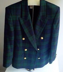 PENDLETON 100% Wool Skirt Suit Tartan Plaid Green/Navy DB Blazer Navy Skirt SZ 6