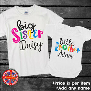 Brother Sister Big Middle Little Personalised Matching T-shirt Bodysuit Gift