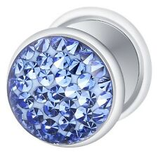 Fake Cheater Ear Plug Silver Plated with Multi Crystal Sapphire Blue
