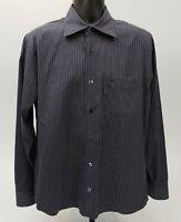 Faconnable Men's Shirt Size Large Long Sleeve Black White Stripe