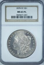 1878-CC Morgan NGC MS63PL Proof-Like Silver Dollar, First Year Carson City