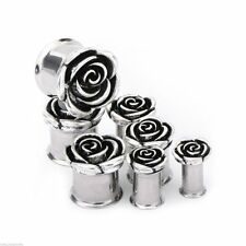 "PAIR-Rose Flower Steel Double Flare Plugs 14mm/9/16"" Gauge Body Jewelry"