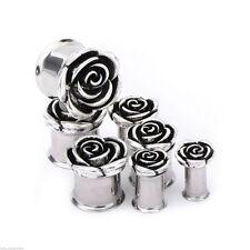 """Pair-Rose Flower Steel Double Flare Ear Plugs 14mm/9/16"""" Gauge Body Jewelry"""