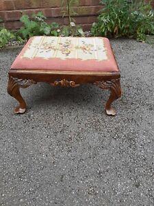 antique walnut footstool