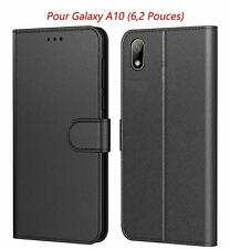 Coque Samsung Galaxy A10 Etui Housse Protection Portefeuille Cuir PU Cover Noir