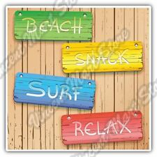Beach Surf Relax Wooden Panel Vacation Car Bumper Vinyl Sticker Decal 4.6""