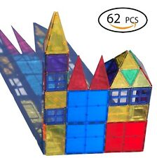 Magnetic Tiles Plates clear Building Blocks sets (62 PCS)