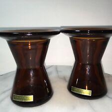 2 Dansk IHQ Candle Holders Amber Brown Glass Danish Modern Vintage Mid Century