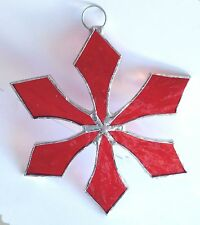 Lot of 10  Stained Glass Flat SNOWFLAKE  RED VALENTINES Ornaments !