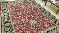 9' X 12' HAND-KNOTTED OUSHAK PISHAWAR AGRA DESIGN VINTAGE WOOL DURABLE RUG