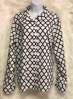 Crown & Ivy Women's Top Long Sleeve Button Front White Navy Geometric Sz XL NWT