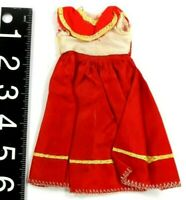 Vintage Hong Kong Doll Clothes Red White Western Dress Fits Barbie or Clone Doll