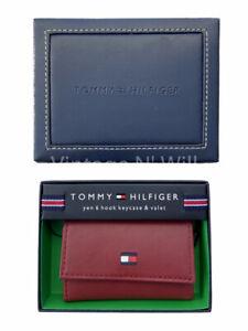 Tommy Hilfiger Burgundy Red Genuine Leather Yen 6 Hook Key/ Card Case Valet