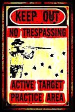 TARGET PRACTICE AREA! NO TRESPASSING SIGN! METAL 8X12 BEWARE KEEP OUT HUNTER
