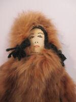 Doll Native American Inuit Alaska Souvenir Leather Fur Artist Signed Mary Telley