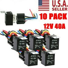 10 Pack 30/40 Amp 12V 5-Pin SPDT Automotive Relay w/ Wires & Harness Socket Set