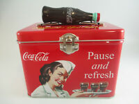 Coca-Cola Train Case Plastic Bottle Handle Latching Close Tin Pause and Refresh