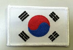 """Korean flag patch korea flag patch 2 3/4"""" wide x 1 3/4"""" tall iron on or sew on"""