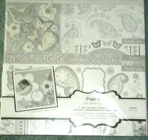 Classic Paisley Gray White Portrait Wedding Colorbok Scrapbook Page Kit 12 x 12