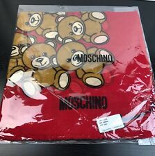 NWT Moschino Bear Square Scarf Shawl Wrap Wool /Silk Blend In Red Made In Italy