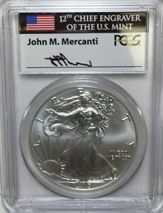 2015 SILVER EAGLE ***PCGS MS70 FIRST STRIKE*** JOHN M. MERCANTI SIGNED