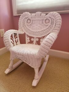 VINTAGE WHITE WICKER ROCKING CHAIR ~ VICTORIAN STYLE ~  CHILD/YOUTH SIZE