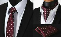 Merlot Red Tie Polka Dot Cravat Ascot Scarf Silver Hanky Wedding Handkerchief