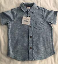 Gymboree Baby Boy's Short Sleeve Blue Marled Shirt 18-24 Months  NWT