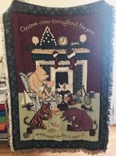 Disney Classic Winnie The Pooh and Friends Christmas Tapestry Throw Blanket