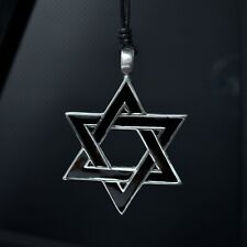 Jewish Star Of David Israel Silver Pewter Charm Necklace Pendant Jewelry