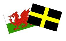 WALES FLAG AND ST DAVID TWO FLAGS 150cm x 90cm 5x3 feet WELSH