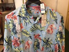 TOMMY BAHAMA TAHITIAN TWEETS ( SCANDIA BLUE ) LONG SLEEVE BUTTON DOWN-SIZE -XL.