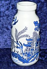 Blue willow small ceramic milk bottle. 4.5oz milk bottle decorated all round